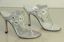 $1840! New MANOLO BLAHNIK JEWELED Crystals Silver SVILU SHOES 36.5 wedding