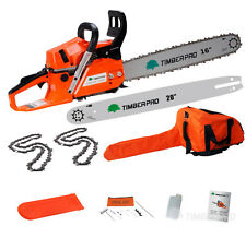 "58cc Petrol Chainsaw with 16"" & 20"" Chains and Bars. TIMBERPRO Chain Saw Kit"
