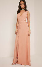 PrettyLittleThing Womens Ladies Harlie Nude Tie Back Button Down Maxi Dress