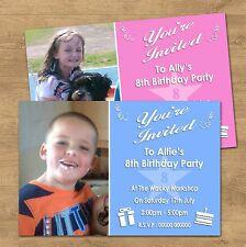 1-100 Personalised Birthday Party Invites + Photo 1st 2nd 3rd 9th 10th.. (BIO5P)
