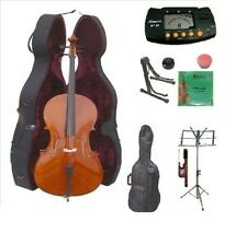 New Merano 4/4-1/4 Size Cello,Case,Bag,Bow+Strings+2 Stands,Tuner,Rosin,Mute