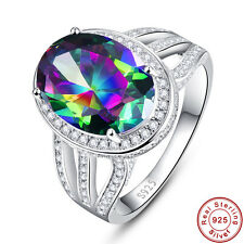 Oval Cut Rainbow & White Topaz 100% Solid 925 Sterling Silver Rings Size 6 7 8 9