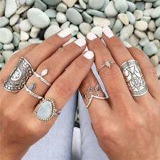 Sale 4 Styles Carved Chunky Vintage Silver Ethnic Wide Women's Band Ring