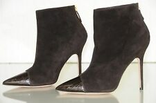 New Manolo Blahnik Griffon Brown Alligator Capped Suede Bootie Ankle Boots 39
