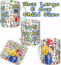 POKEMON GO #2 Personalised YOUR NAME Printed Child/Adult Size Mug FREE DELIVERY