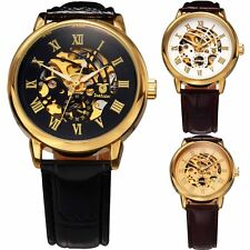 Men's New Fashion Steampunk Mechanical Watches Leather Band Wrist Watch