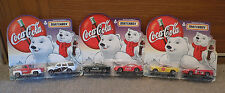 1999 Coca-Cola ~ Matchbox ~ Set of 2 Mustangs, Chevy, Ford ~ Polar Bear ~ MIP