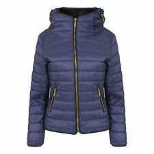 Womens Navy Quilted Padded Puffer Bubble Fur Collar Warm Thick Jacket Coat 8- 14