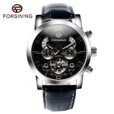 FORSINING Luxury Date Day Leather Band Automatic Mechanical Men's Wrist Watch