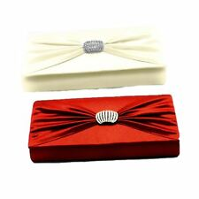Satin clutch bag / handbag with diamante brooch and shoulder strap