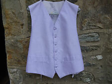 """Gents Waistcoat - Lilac silk dupion ~ ex-Hire ~ chest 42"""" ~ 6 buttons ~ v.g.c."""