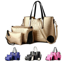 3 PCS Women Crocodile Skin Leather Handbag Satchel Purse Shoulder Messenger Bag