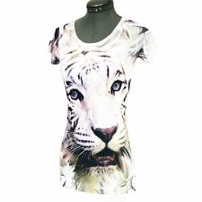 Ladies sleeveless t-shirt / vest with tiger face to front