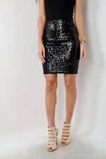 Black Full Sequin Pencil PARTY Skirt Size Small CLUBWEAR NEW