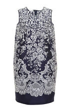$2790 New Oscar de la Renta Navy Blue White  Jacquard Shift DRESS 4 8