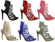Ladies womens summer strappy high heel sandals formal evening party shoes