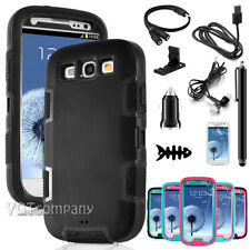 Black Hybrid Rubber ShockProof Protective Hard Case Cover For Samsung Galaxy S3