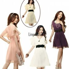 TOP Womens Short Sleeve Round Neck Chiffon Casual Evening Party Mini Dress LM