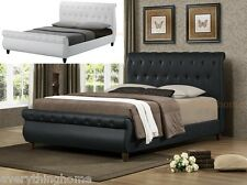 QUEEN BED WHITE OR BLACK FAUX LEATHER SLEIGH PLATFORM BUTTON TUFTED MODERN