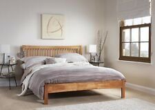 Agna Solid Wood Bed Shaker Style in Oak White Grey Single Double King Super King