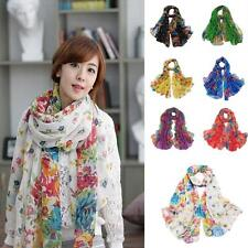 Lady's Warm Soft Floral Print Voile Scarf Chiffon Neck Wrap Shawl Scarf Colorful