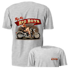 New Toys For Big Boys Pin Up Girl Gray Motorcycle Graphic T-shirt S M L 2XL