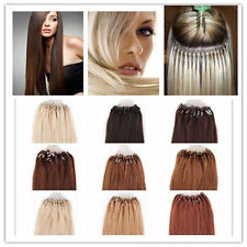 """100s Easy Loop Micro Ring Beads Tipped Real Remy Human Hair Extensions 16""""-26"""""""
