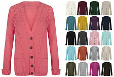 New Ladies Long Sleeve five Button Top Chunky Aran Cable Knit Grandad Cardigan