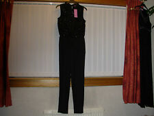 FLORENCE & FRED BLACK SEQUINED YOKE JUMPSUIT AGE 13-14 YEARS BNWT