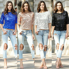 HOT Sequin Womens Lady Sparkle Glitter Tank 3/4 Sleeve Coctail Party Top T-Shirt