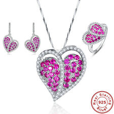 Free Jewelry Box Ruby Ring+Pendant+Earring 100% 925 Sterling Silver Jewelry Sets