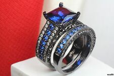 Gothic Blue Sapphire Black Plated 925 Silver Engagement Wedding Rings Bridal Set