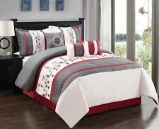 Luxury 7 PC Comforter Set White/Gray Embroidered Red Dots King/Cal King Oversize