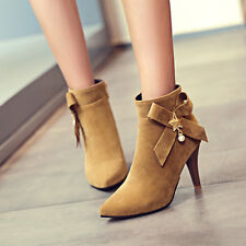 Sexy Women Pointy Toe Bow-knot Ankle Boots High Heels Pumps Stiletto Party Shoes