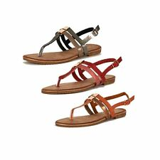 Ladies strappy flat sandals with sling back and toe post