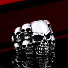 Skull Ring Mens Biker 316L Stainless Steel Punk Fashion Jewelry Gothic Size 7-13