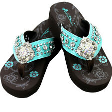 Montana West Flip Flops Western Floral Rhinestone Bling Wedge Sandals Blue NEW