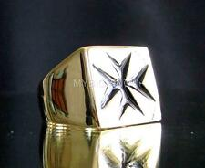 BRONZE SIGNET RING MALTESE CROSS HOSPITALLER  KNIGHT MEDIEVAL BLACK ANY SIZE