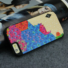 Natural Wood PC Case Cover Skins For iPhone 6 6S 4.7 Hard Bamboo Rainbow Colors