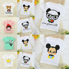 New Baby Kids Girls Boys Cartoon Cotton Tees Tops T-shirt Blouse Clothes 1-7Y