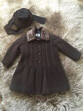 VAL&MAX Girls Made In Italy Designer Dress Wool Cashmere Coat & Hat Size 2Y, 4Y