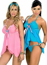 7019 Lady Sexy Blue Pink Baby Doll Teddy Lace LINGERIE Thong G-STRING S M L XL