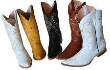 MENS WESTERN COWBOY  LEATHER OSTRICH PRINT (EMBOSSED OSTRICH)  BOOTS SNIP TOE ``