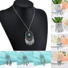 Vintage Silver Feather Kallaite Dream Catcher Women Pendant Necklace Long Chain