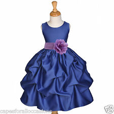 NAVY BLUE GIRL DRESS FLOWER PAGEANT WEDDING BRIDAL CHRISTMAS MEDIUM 2 3 4 6 8 10