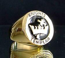 BRONZE SIGNET RING TEMPLAR KNIGHT CROSS & CROWN CRUSADER MEDIEVAL BLACK ANY SIZE