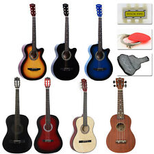 "New 38"" Beginners Acoustic GuitarCase, Strap, Tuner, Pick, Tuning Pegs USA OU"