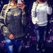 WOMEN CASUAL SEXY LONG SLEEVE HOLLOW OUT LOOSE KNITTING SWEATER KNITWEAR USEFUL