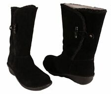 Anne Klein Kresent Womens Black Suede/Faux Shearling Winter Wedge Boots