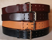 Heavy Duty Leather Work Belt Mens Double Hole - 2 Prong Buckle Handmade in USA